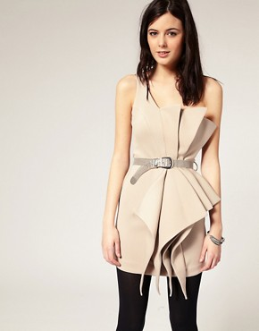 Image 1 ofRiver Island Origami One Shoulder Dress