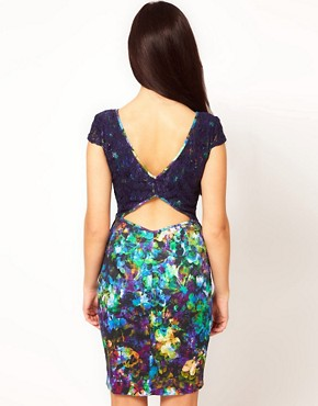 Image 2 ofRiver Island Floral Peplum Dress With Lace Overlay