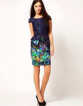 Image 4 ofRiver Island Floral Peplum Dress With Lace Overlay