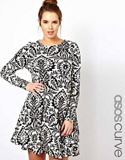 ASOS CURVE Swing Dress in Baroque Print