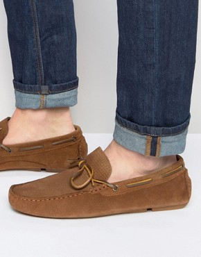 River Island Suede Loafers In Tan