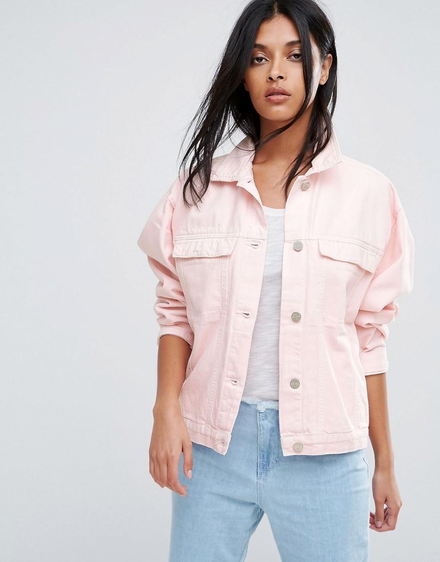 Waven Karin Pink Oversized Denim Jacket