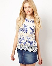 River Island Blue Print With Lace Trim Top