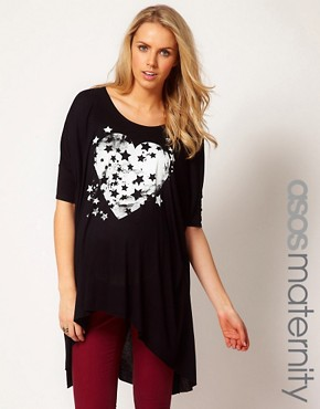Image 1 ofASOS Maternity Exclusive Dipped Back T-Shirt With Starry Heart