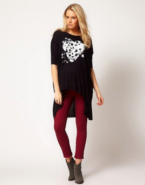 Image 4 ofASOS Maternity Exclusive Dipped Back T-Shirt With Starry Heart