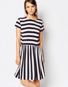 Samsoe & Samsoe Vermund Skater Dress in Stripe