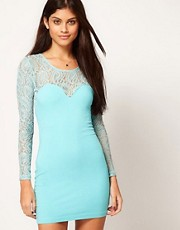 Motel Dress With Lace Sleeves
