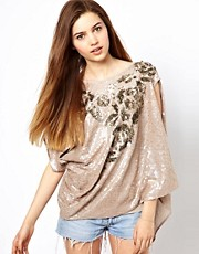 Gold Hawk Rose Bouquet Drape Top