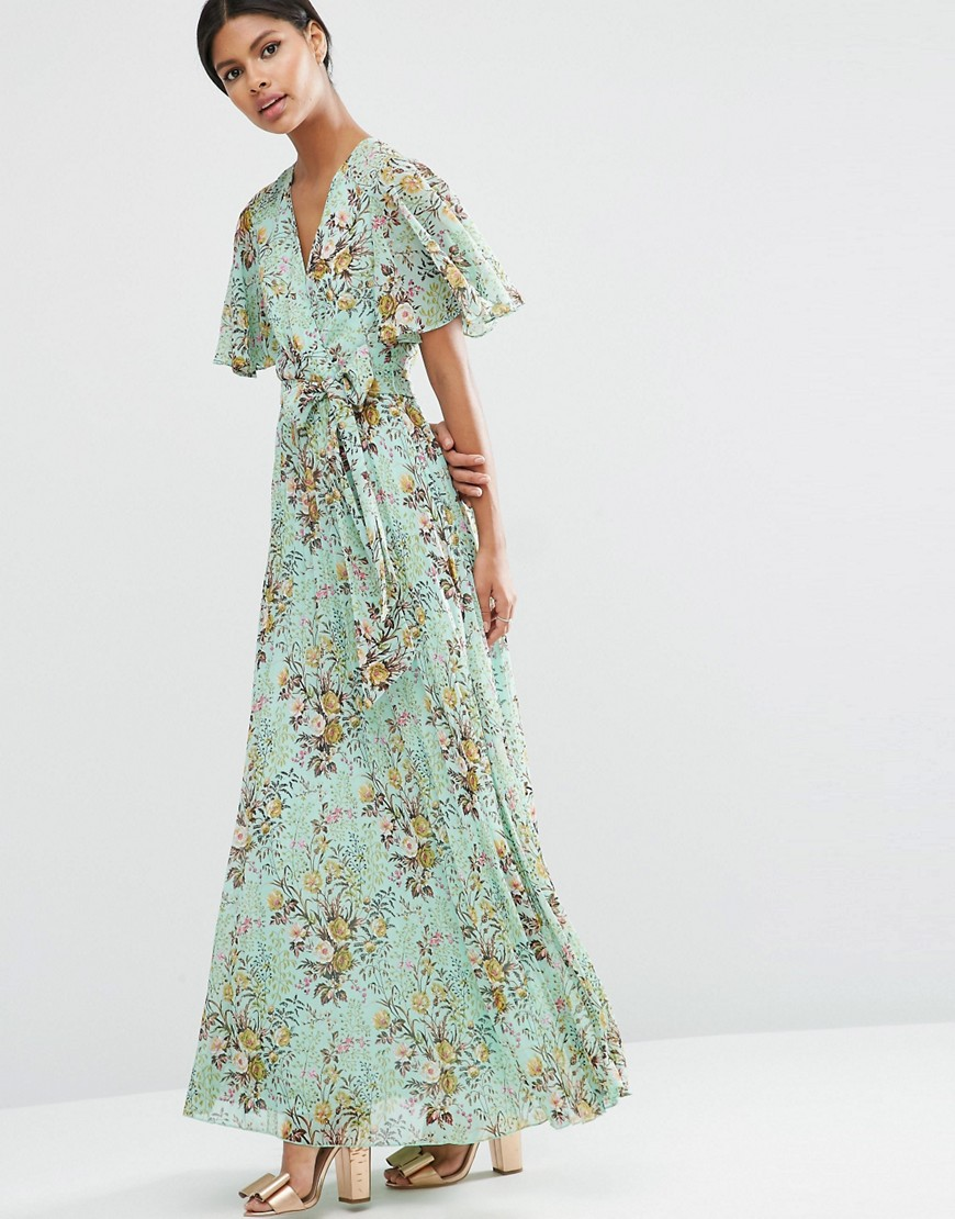 ASOS Pleated Maxi Dress in Green Base Floral Dress