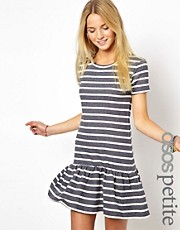 ASOS PETITE Exclusive Sweat Dress In Stripe With Drop Waist