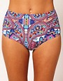 Image 1 ofASOS Paisley High Waisted Bikini Pant