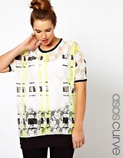 ASOS CURVE Lace T-Shirt With Check Print