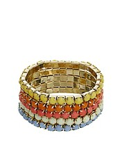 Pieces Minella Pack Of Five Opaque Jewel Bracelets