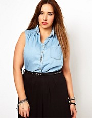 New Look Inspire Peter Pan Sleeveless Denim Shirt