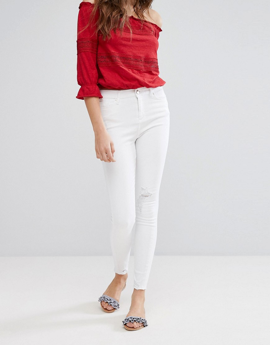 Miss Selfridge Frayed Hem Skinny Jeans - White