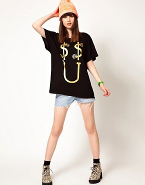 Image 4 ofLazy Oaf Exclusive Dollar Smile Oversized T-Shirt