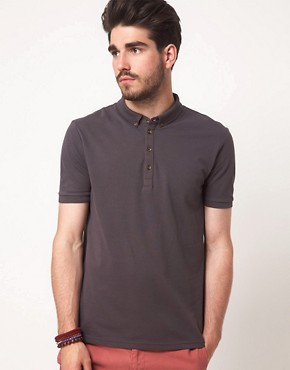 Image 1 ofASOS Polo In Pique Jersey With Button Down Collar