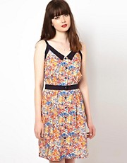 Sessun Sundress in Liberty Print with Contrast Belt and Collar