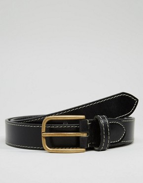 ASOS Leather Belt With Stitch Detail