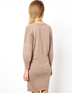 Image 2 ofASOS V-Neck Pleat Waist Knitted Dress