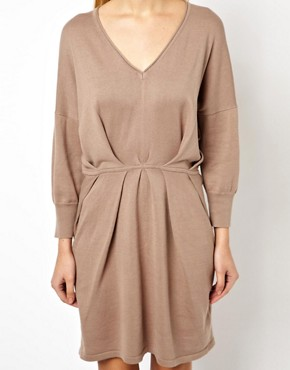 Image 3 ofASOS V-Neck Pleat Waist Knitted Dress