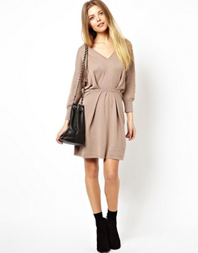 Image 4 ofASOS V-Neck Pleat Waist Knitted Dress