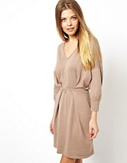 ASOS V-Neck Pleat Waist Knitted Dress