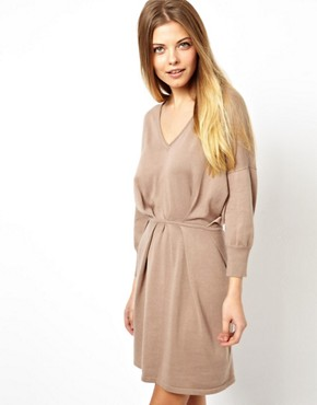 Image 1 ofASOS V-Neck Pleat Waist Knitted Dress