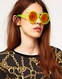 Image 3 ofASOS Round Sunglasses With Pink Mirrored Lens