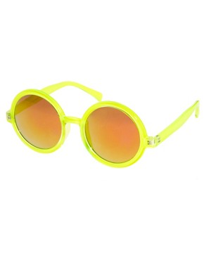 Image 1 ofASOS Round Sunglasses With Pink Mirrored Lens