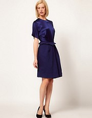 Preen Line Spy Dress with Satin Panel and Peplum