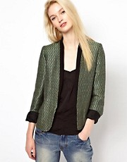 BA&amp;SH Jaquard Blazer with Contrast Collar