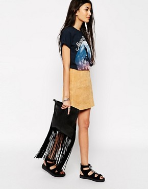 ASOS Leather Fringed Clutch Bag