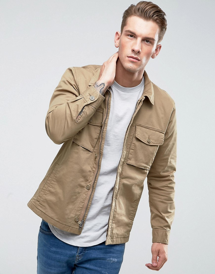 Abercrombie & Fitch Military Over Shirt Zip Front in Beige - Khaki