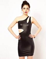 Boulee Wet Look Bodycon Dress with Cut-Out Side