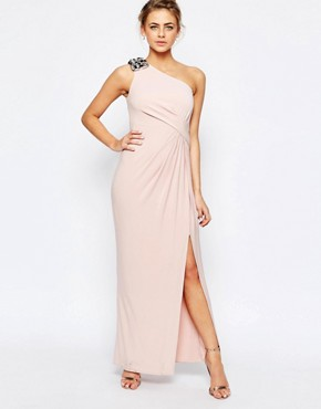 Coast Emilana One Shoulder Maxi Dress in Blush