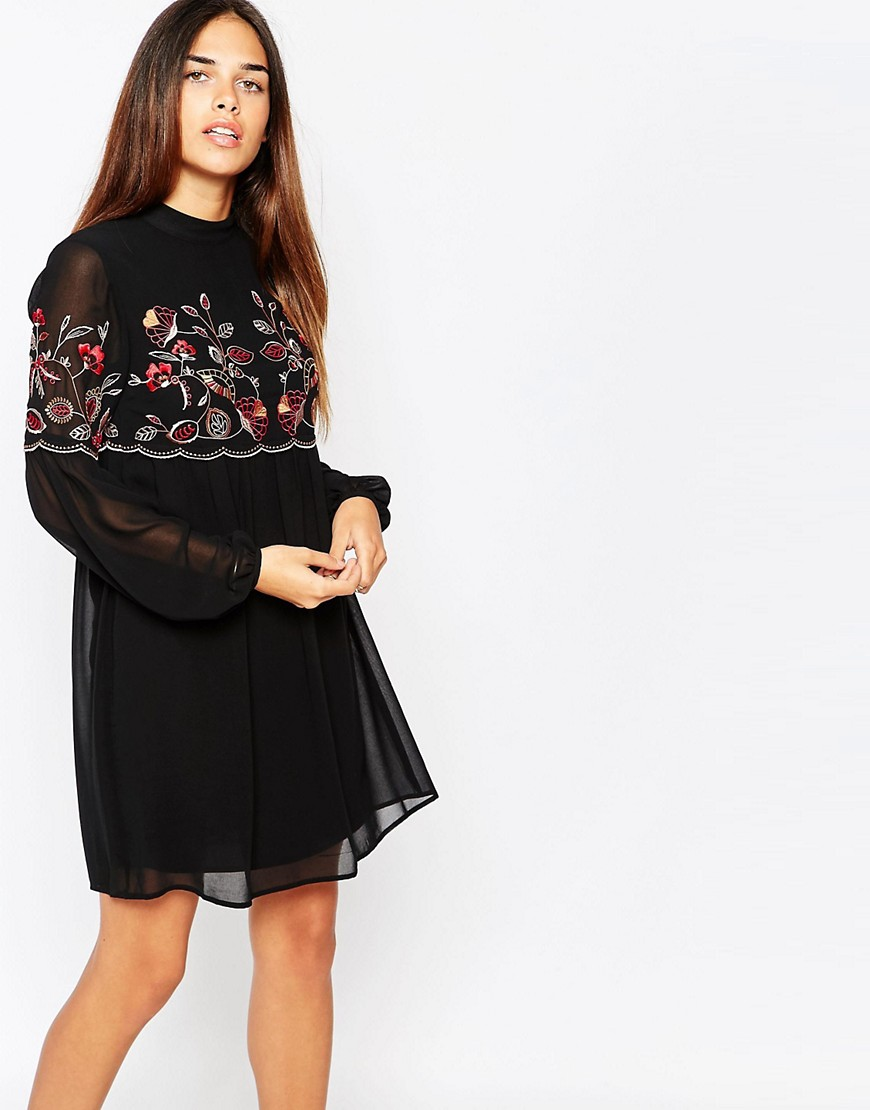 Warehouse Embroidered Smock Dress - Multi