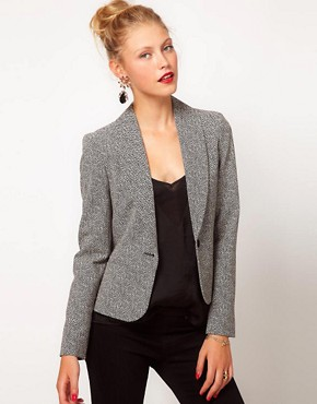 Image 1 of ASOS Blazer in Herringbone Print