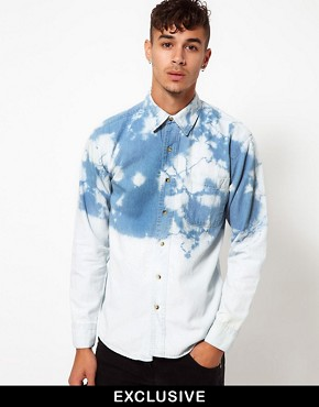 Image 1 ofReclaimed Vintage Denim Shirt with Dip-Dye
