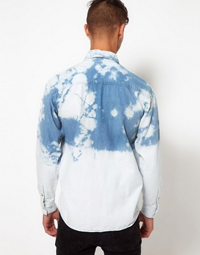 Image 2 ofReclaimed Vintage Denim Shirt with Dip-Dye