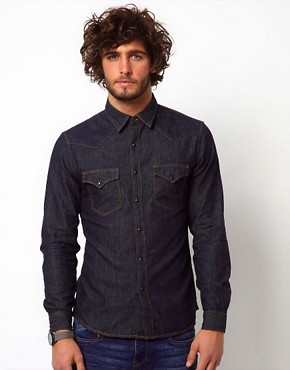 Image 1 ofReplay Shirt Denim Western Rinsewash