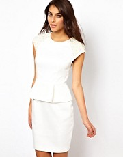 Lipsy VIP Peplum Dress with Embellished Shoulders