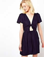 Sessun Silk Dress Bow Front Detail