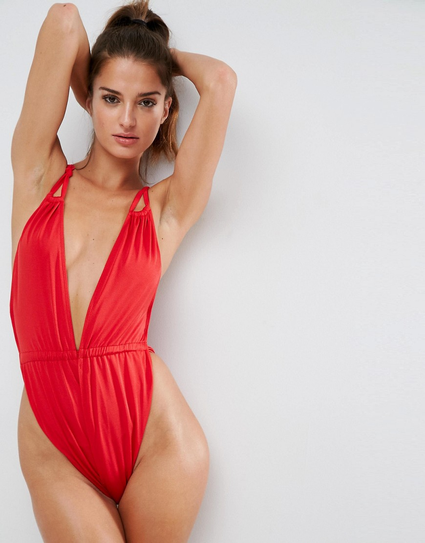 ASOS Glam High Leg Gathered Strappy Plunge Swimsuit - Red
