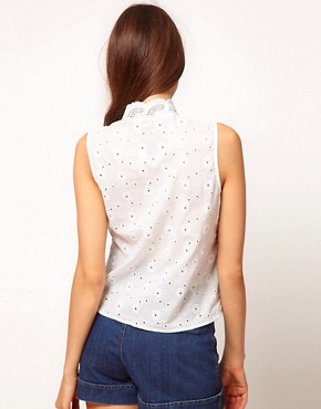 Image 2 ofASOS Sleeveless Blouse With All Over Broderie