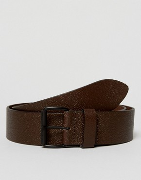 ASOS Wide Belt In Pebble Grain Leather In Brown With Matte Black Roller Buckle