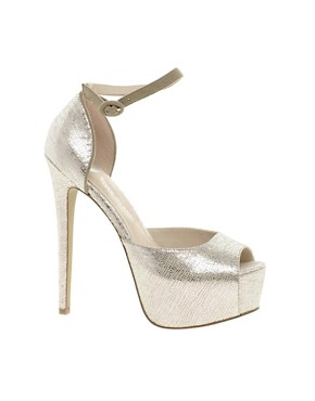 Image 1 ofRiver Island Empira 2 Part Peeptoe Court Shoes