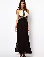 Little Mistress High Neck Lace Insert Maxi Dress