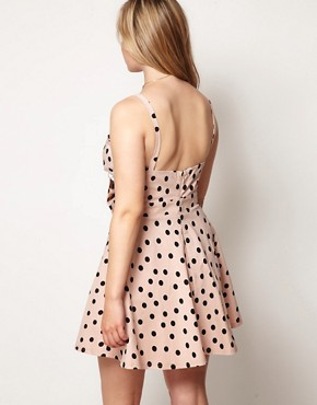 Image 2 ofASOS CURVE Bandeau Skater Dress In Spot