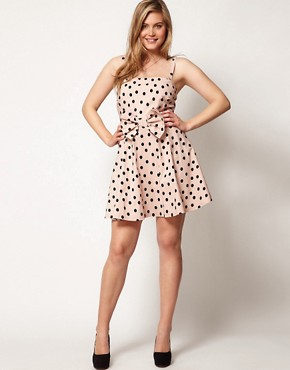 Image 4 ofASOS CURVE Bandeau Skater Dress In Spot